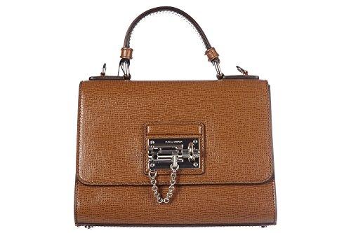 Dolce&Gabbana women's leather handbag shopping bag purse print camel small brown