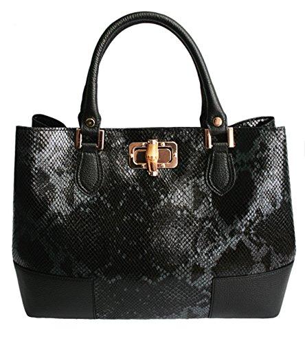 Designer Italian Leather Handbags For Women – Black Python