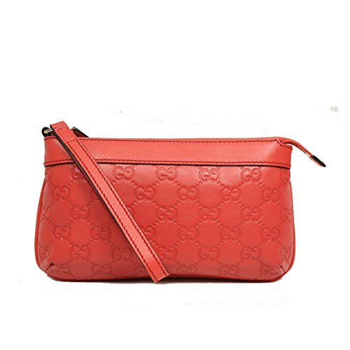 Gucci Guccissima GG Logo Red Leather Wristlet Clutch Bag 274181