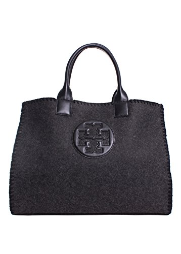 Tory Burch Ella Stitched Over-Sized Tote, Dark Charcoal