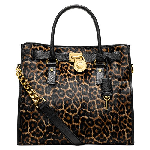 Michaeel Kors Hamilton Large Cheetah Leopard Animal Calfhair Leather Black Brown Natural NS North South Satchel Tote Bag