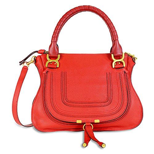 Chloe Marcie Medium Leather Satchel Handbag – Paprika Red