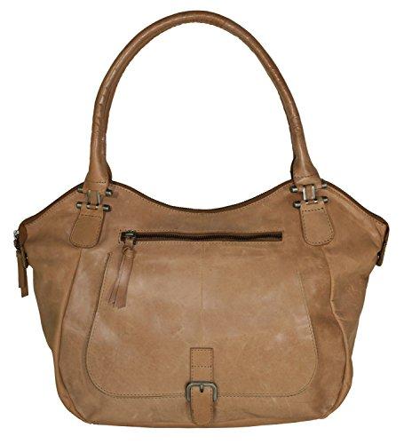 Laura Women Designer Genuine Leather Sand Brown Large Shoulder Bag