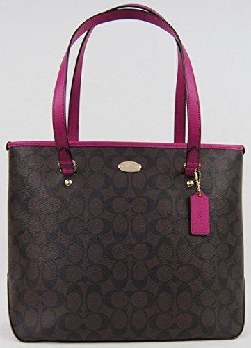 COACH Signature Zip Top Tote Handbag Shoulder Bag 34603 Brown Cranberry