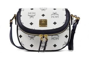 MCM Mini Heritage Crossbody (White) Black Gold Leather Handbag Bag New