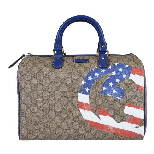 Gucci USA GG Flag Collection Boston Leather Trimmed Handbag Bag