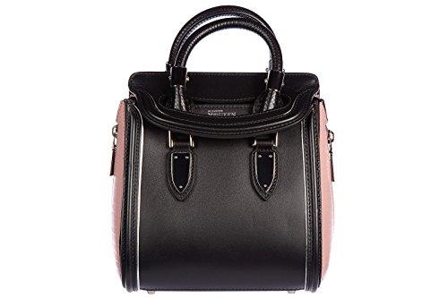 Alexander Mcqueen women's leather handbag shopping bag purse vintage bicolor mini black