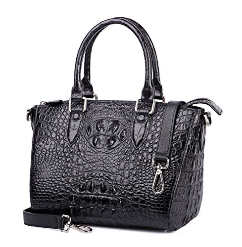 GAVADI Crocodile Leather Womens Black Clutch Bag S01115