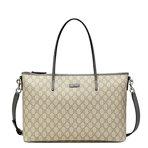 Gucci Supreme Canvas and Leather GG Logo Shoulder Tote Bag with Shoulder Strap 353437, Grey / Gray