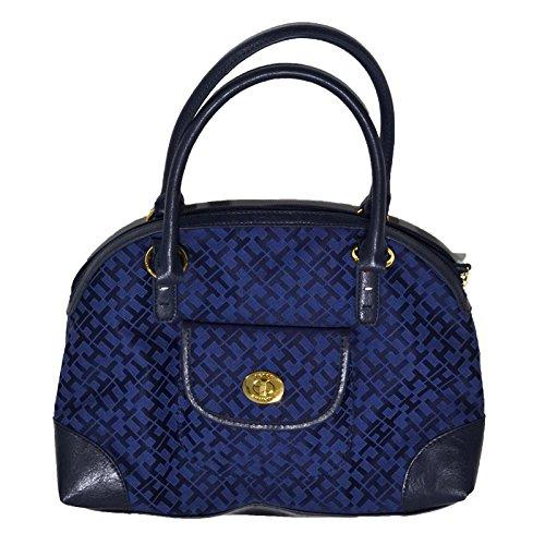 Tommy Hilfiger Dome Satchel Purse Handbag Navy Blue