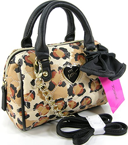 New Betsey Johnson Purse Cross Body Mini Barrel Satchel Bag Cheetah Leopard