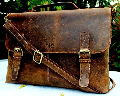 Handolederco 16″ Vintage Rustic Buffalo Hide Leather Messenger Satchel Laptop Briefcase Shoulder Bag for Men's and Women