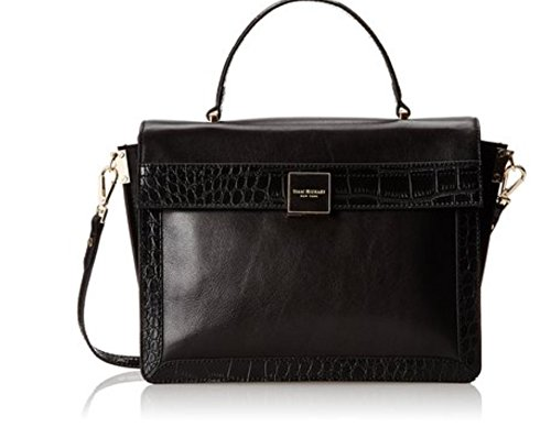 Isaac Mizrahi Adele Black Leather Satchel Handbag
