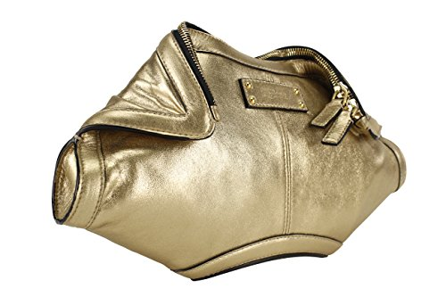 Alexander McQueen De Manta Gold Metallic Clutch (300788 AUP0O)