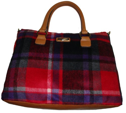 Tommy Hilfiger Women's Conventional Shop Handbag, Red/Black Plaid
