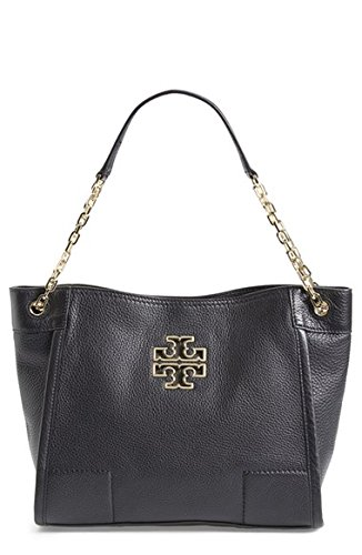 Tory Burch Small Britten Leather Tote Black Handbag New