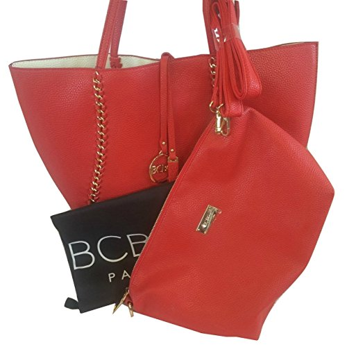 BCBG Paris Reversible Chain Tote with Convertible Bag Red/Off White