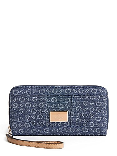 GUESS Abiu Denim Zip-Around Wallet