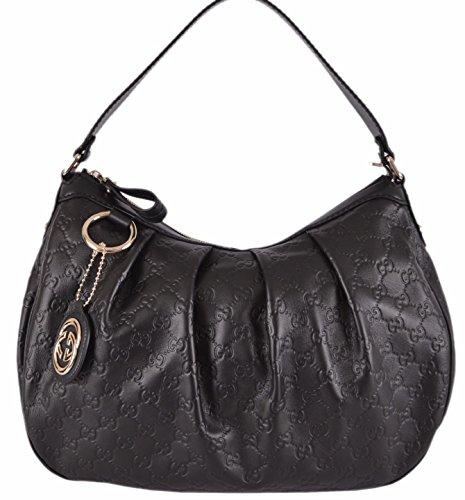 Gucci Women's Black Guccissima Leather GG Charm Sukey Purse