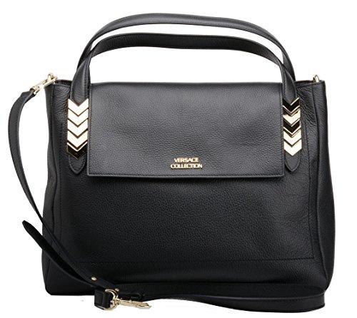 Versace Collection Women's Fashion Black Leather Handbag LBFS419-LVFA