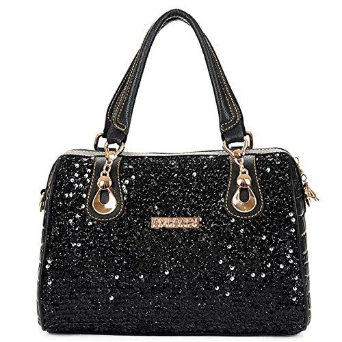 BagVenus Boston Twinkle Elegent Designer Zipper Tote Handbag