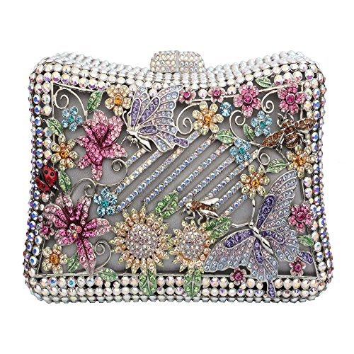 Floral Butterfly Clutch with Crystallized Swarovski Elements