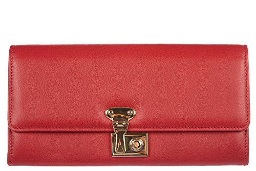 Dolce&Gabbana women's wallet leather coin case holder purse card bifold calfskin red