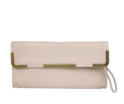 Bottega Veneta Pink Leather Gold Detail Wristlet Clutch Bag 325241 6808