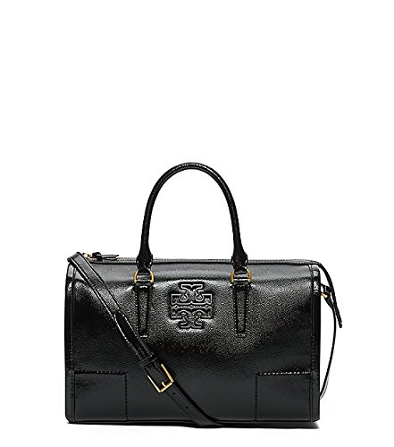 Tory Burch Britten Patent Black Leather Satchel Bag Handbag New