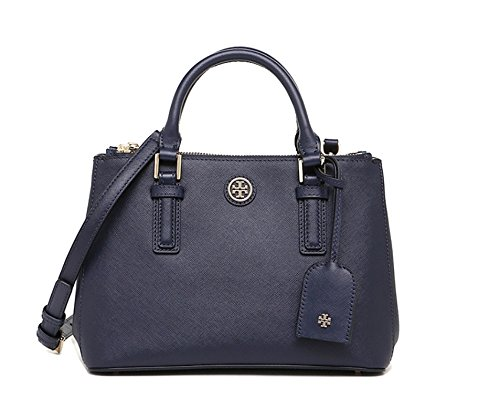 Tory Burch Robinson Medium Double Zip Tote Limited Collection Navy Blue $495.00