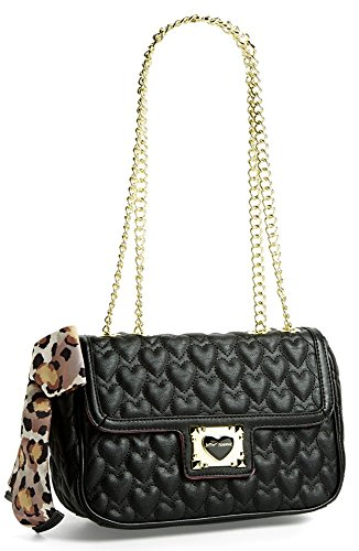 Betsey Johnson Handbag Be My Sweetheart FLAP TOTE Black