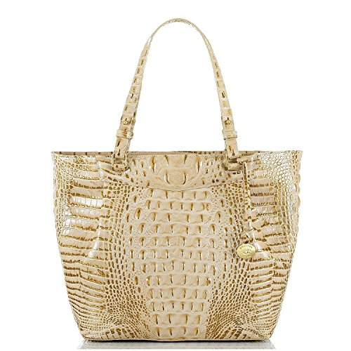 NEW AUTHENTIC BRAHMIN MALIA LARGE CARRYALL EXOTIC LEATHER TOTE (Champagne Melbourne)
