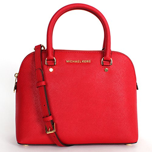Michael Kors Cindy Medium Dome Satchel in Leather Chili
