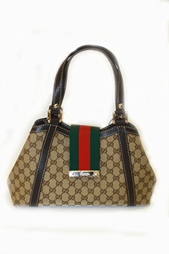 Gucci Handbag Beige Fabric and Brown Leather (Purse)
