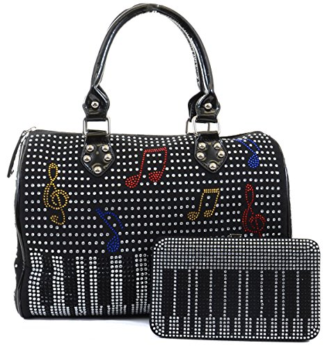 Piano Music Note Bling Rhinestone All Over Handbag Purse & Wallet SET