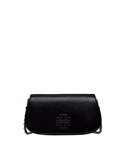Tory Burch Britten Patent Clutch Black Leather Handbag Bag New