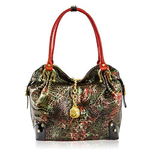 Marino Orlandi Italian Designer Red Alligator Leather Large Slouchy Purse Bag