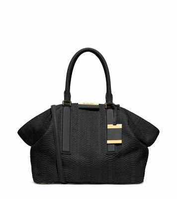 Michael Kors Collection Lexi Large Sueded Snakeskin Satchel Black Handbag New