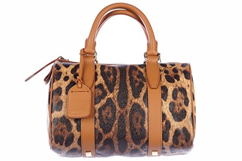 Dolce&Gabbana women's handbag barrel bag purse leo brown