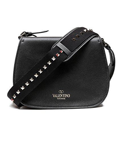 Valentino Women's Real Leather Studded Strap Saddle Bag