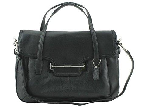 Coach Taylor Leather Marin Flap Satchel, Tote Shoulder Bag Handbag Color Black 26781