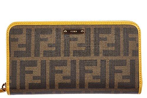 Fendi women's wallet leather coin case holder purse card bifold zucca brown