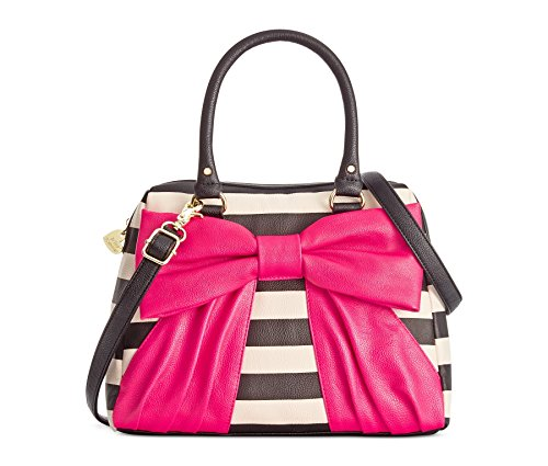 Betsey Johnson Dome Satchel (Black White Stripe, Pink Bow)