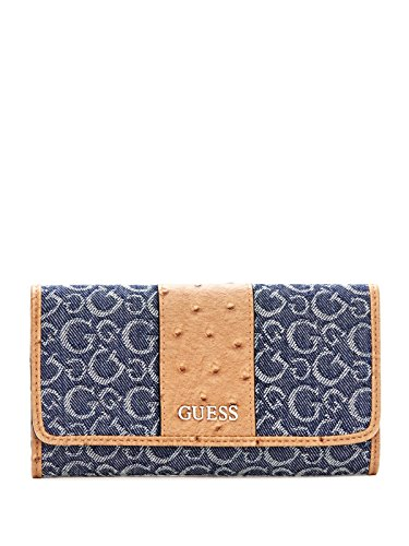 GUESS Ware Denim Logo Jacquard Slim Wallet