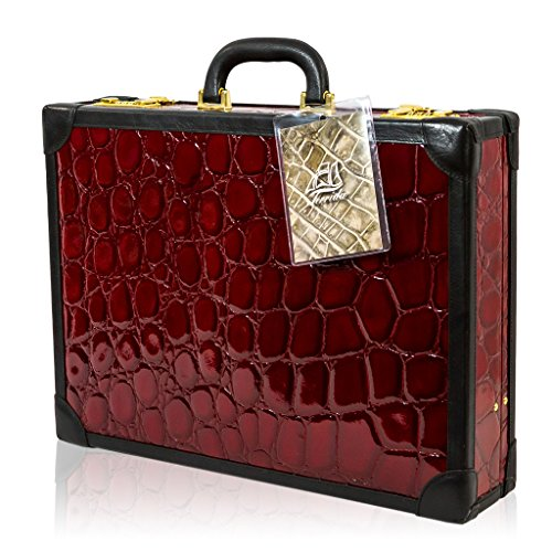 Terrida Italian Designer Diplomat Pasha Burgundy Croc Leather Briefcase Attache