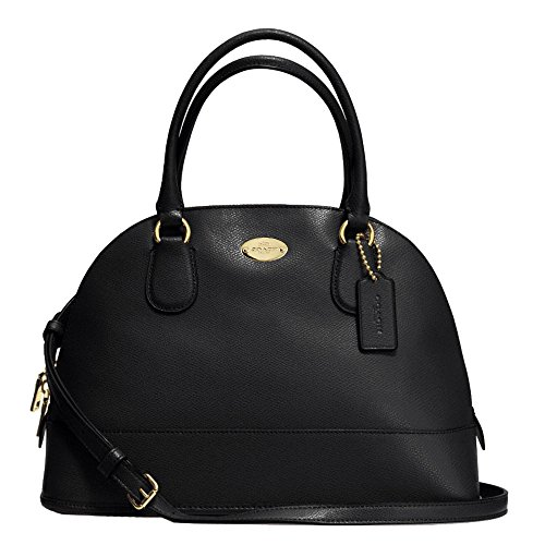 New Authentic COACH New York Peyton Cora Domed Black Leather Satchel & Crossbody Shoulder Bag
