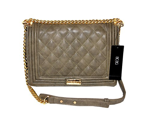 BCBG Matte Quilted Chain Shoulder Bag Taupe B-0115