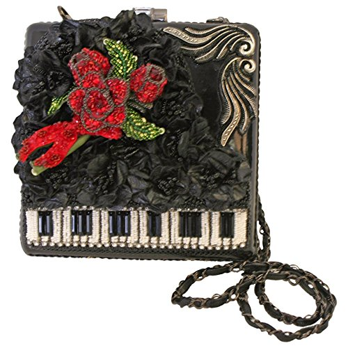Mary Frances Baby Grand Black White Beaded Sequined Jeweled Piano Purse Shoulder Bag