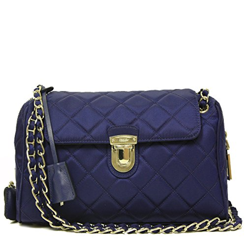 Prada Tessuto Saffian Royal Blue Quilted Nylon Chain Bag Shoulder Bag