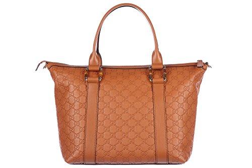 Gucci women's leather shoulder bag original logo brown